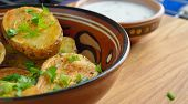 image of potato-field  - Roasted potato in bowl on wooden table  - JPG