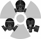 image of gas mask  - gas masks and radiation sign - JPG