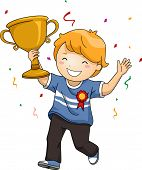 pic of waving  - Illustration of an Overjoyed Boy Celebrating His Victory While Waving His Trophy - JPG