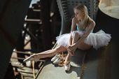 image of tutu  - Ballerina sitting on the edge of the bridge - JPG