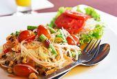 stock photo of thai food  - Som Tum Thai papaya salad - JPG