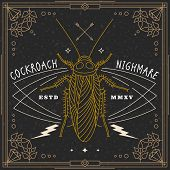 stock photo of cockroach  - Vintage thin line cockroach label - JPG
