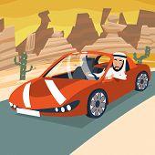picture of car ride  - Retro Cartoon Sport Car Transport Arab Driver City Riding Desert Road Backgorund Vector Illustration - JPG