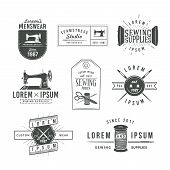 stock photo of tailoring  - Set of vintage tailor labels - JPG