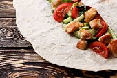 pic of shawarma  - Traditional shawarma wrap with chicken and vegetables - JPG