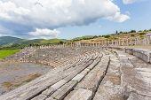 stock photo of messina  - tribunes of antique stadium in Ancient Messina - JPG