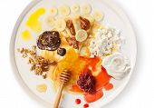 image of crepes  - Crepes on a dish with various toppings - JPG