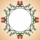 image of hungarian  - Round frame with traditional Hungarian potter motives - JPG