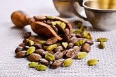 picture of cardamom  - Coffee beans and cardamom on burlap a - JPG