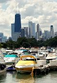 foto of marina  - Downtown chicago buildings and skyline behind Marina - JPG