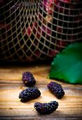 pic of mulberry  - the berries of an organic mulberry picked in a garden - JPG