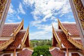 stock photo of gable-roof  - Thai style ancient roof and sky in the temple Thailand - JPG