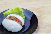 picture of quail  - Chinese steamed bun with crab stick quail egg and pork stuff - JPG