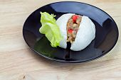 pic of quail  - Chinese steamed bun with crab stick quail egg and pork stuff - JPG