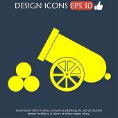 image of cannon-ball  - retro cannon Flat vector illustrator Eps 10 - JPG