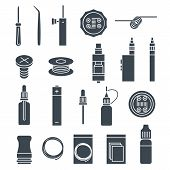 picture of vapor  - vector icons set of vaporizer and accessories - JPG