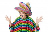 picture of moustache  - Funny young mexican with false moustache isolated on white - JPG