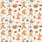 pic of mermaid  - Lovely boys and girls in pirate costumes in cartoon seamless pattern - JPG