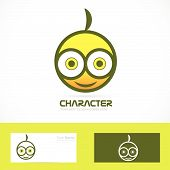 stock photo of gizmo  - Vector company logo icon element template face funny drawing - JPG