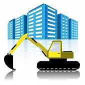 foto of excavator  - Illustration Excavator and Modern Urban Buildings - JPG