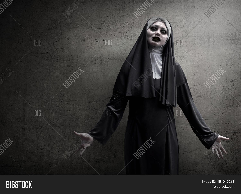 Asian Woman Dressed Evil Nun Image & Photo   Bigstock  Asian Woman Dre...