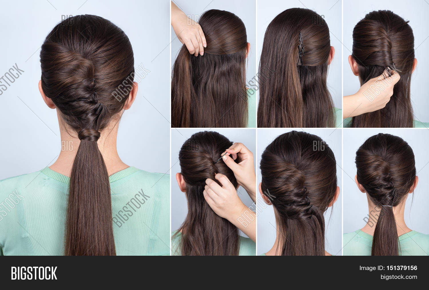 simple hairstyle ponytail with twist hair tutorial step by step