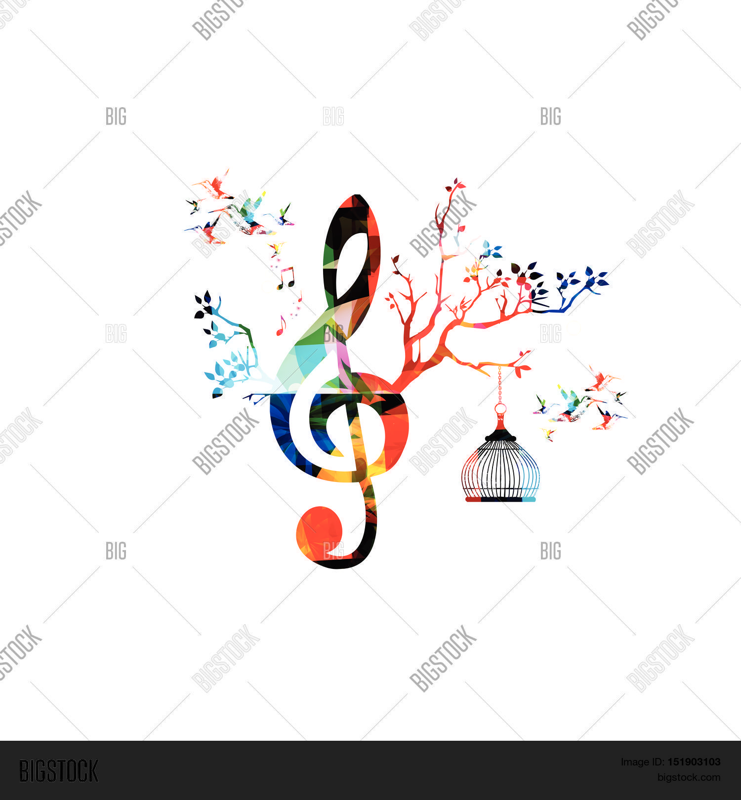 Creative Music Template Vector Illustration Colorful G