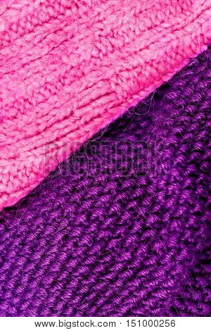 Winter knitting woolen texture background. Colorful knitted horizontal textured background. Christmas and New Year Wool Design Background