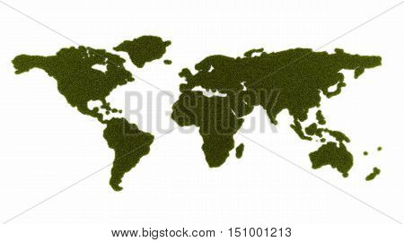 3d illustration of continents of the globe from grass