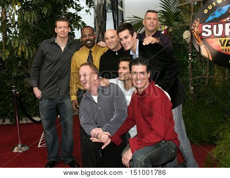 Brook Geraghty, Rory Freeman, Travis Sampson, Chad Crittenden, Brady Finta, John Kenney, John Palyok and Lea Masters at the 'Survivor Vanuatu Islands of Fire' finale in Hollywood on December 12, 2004.