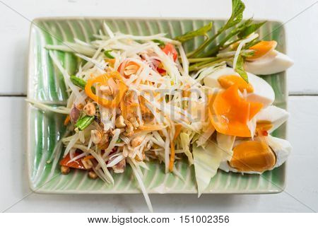 Papaya Salad Or Som Tum, Thai Food On Table
