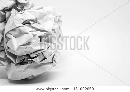 Close up Crumpled paper ball on white background