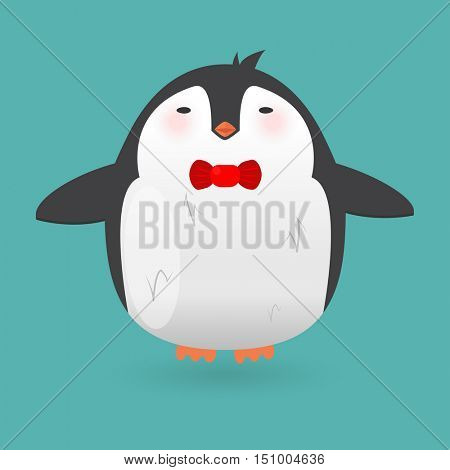 Cartoon penguin character. Funny bird. Vector winter illustration isolated on white background