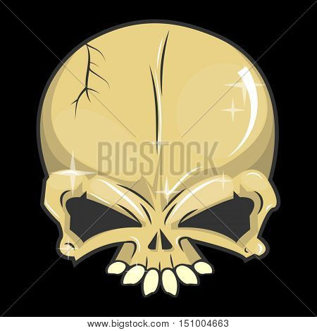 Halloween skull. Symbol of day of the dead or halloween. Spooky skeleton head. Flat design. Isolated vector illustrations