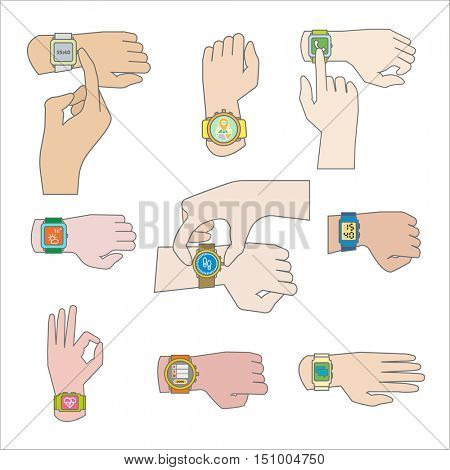Set of gestures for watch. Tap fingers, press buttons (push and sliding, click and touch). Flat icons. Vector illustration isolated on white background.