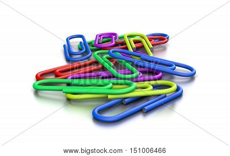 Heap Of Colorful Paperclips