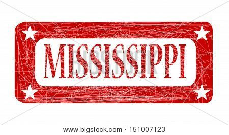 A grunged red ink stamp with the word Mississippi over white