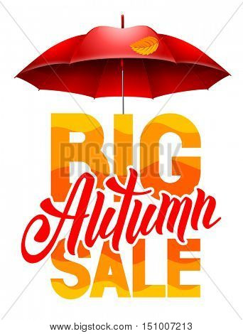 Seasonal autumn sale ad background with autumn leaves and red umbrella. Lettering with calligraphic inscription Autumn Sale. Vector stock illustration. Isolated.