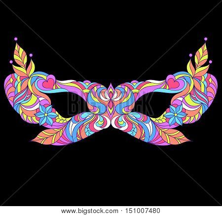 Vector illustration of mardi gras mask on black background. Carnival, masquerade mask.