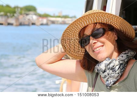 Smiling Beautiful Woman With Straw Hat And Sun Glasses
