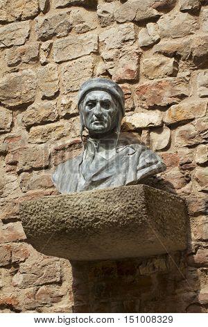 Bust of Dante Alighieri in Florence Italy
