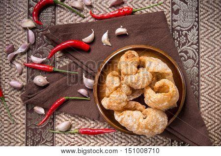 Crispy Pork Skin,asia Style Food.