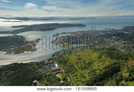 Avacha Bay and Petropavlovsk-Kamchatsky on the southeastern coast of Kamchatka Peninsula. View from the helicopter.