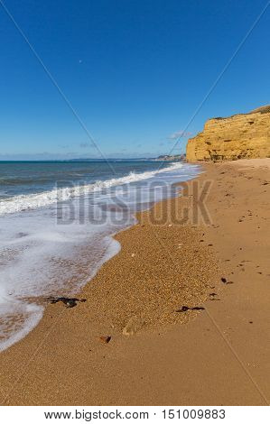 Burton Bradstock beach Dorset England UK Jurassic coast with sandstone cliffs and white waves in summer with blue sea and sky