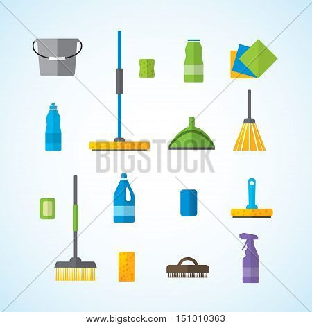 Set for cleaning and washing vector, fully editable.