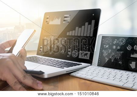 Professional Investor Working Business Team Work.  Finance Task. Laptop Computer Smart Phone Using L