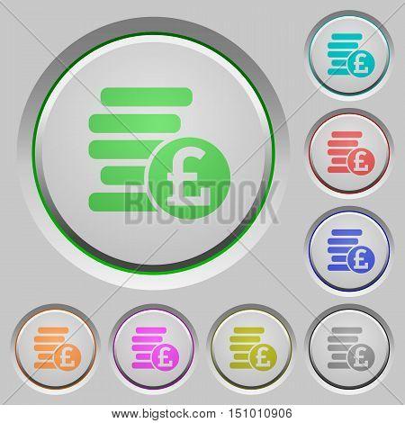 Set of color Pound coins sunk push buttons.