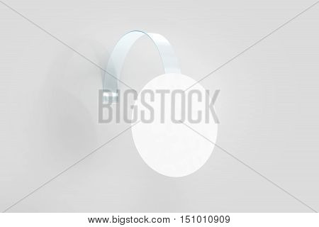 Blank white wobbler hanging on wall mockup clipping path 3d rendering. Space round paper mock up on plastic transparent strip. Clear price sticker circle shape. Pricing tag label template isolated.