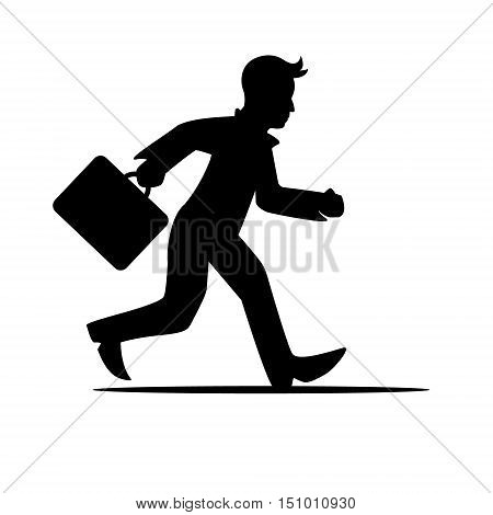 silhouette man with a briefcase in a hurry, running