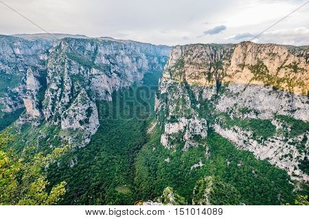 Vikos Gorge from the Oxia viewpoint at evening time. Zagoria Epirus Greece Europe